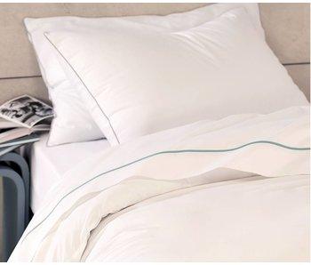 """Matt & Rose luxe tussenlaken Douce Nuit White / Blue """"orage"""" 270X310cm"""