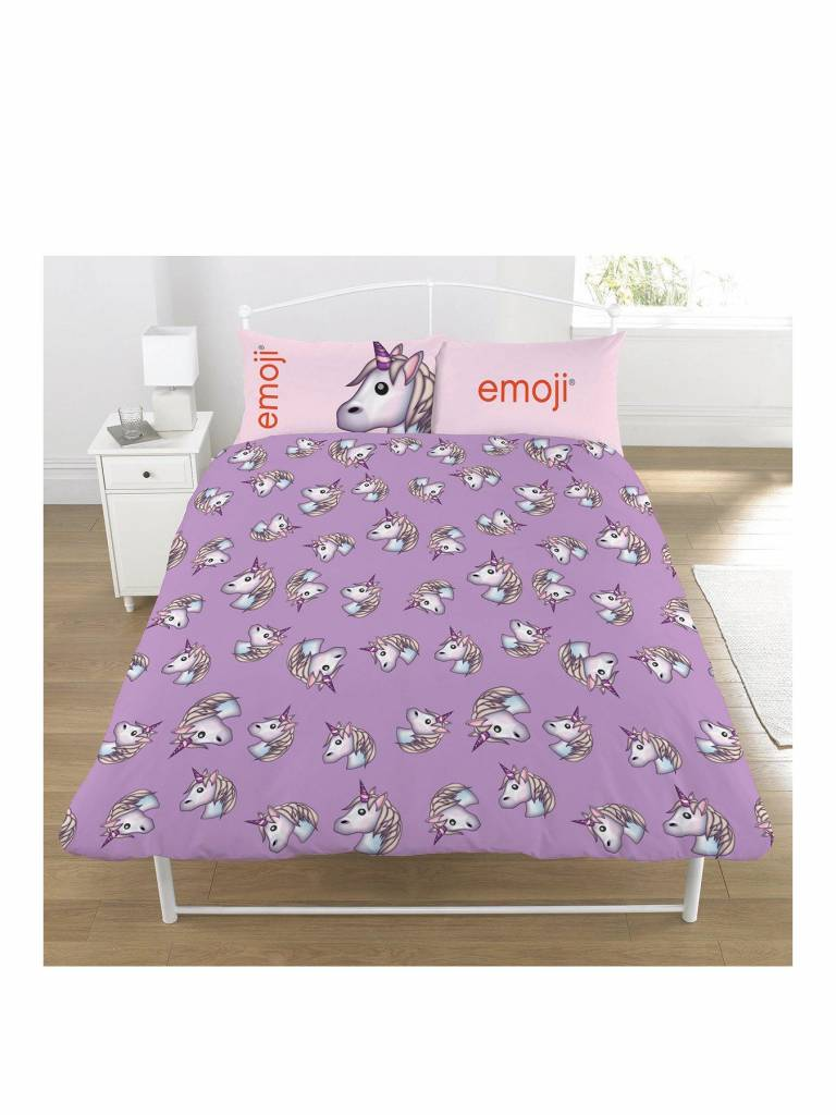 emoji unicorn dekbedovertrek tweepersoons 200 x 200 cm lila. Black Bedroom Furniture Sets. Home Design Ideas