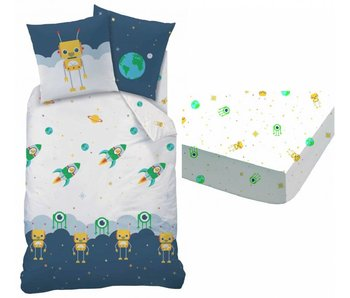 Matt & Rose Space duvet cover + fitted sheets