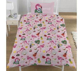 Emoji Bettbezug Flamingo Einzel 135x200 + 50x75cm
