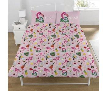 Emoji Dekbedovertrek Flamingo tweepersoons 200x200 + 50x75cm
