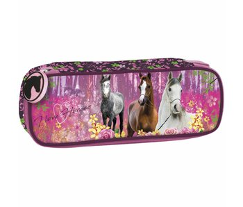 Animal Pictures Pencilcase Horses Forest