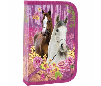 Animal Pictures Filled Pencilcase Horses Forest