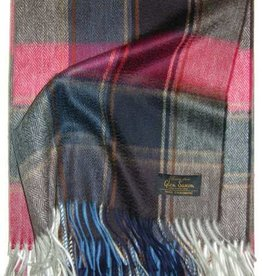 Glen Saxon Cashmereplaid 100% Cashmere gewebt Karo Lucky - wine