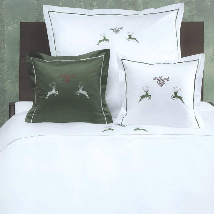 luxus bettw sche graser maco satin uni stickerei hirsch textile tr ume edle heimtextilien. Black Bedroom Furniture Sets. Home Design Ideas