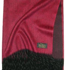 Glen Saxon Cashmereplaid 100% Cashmere rot mit Bordüre schwarz
