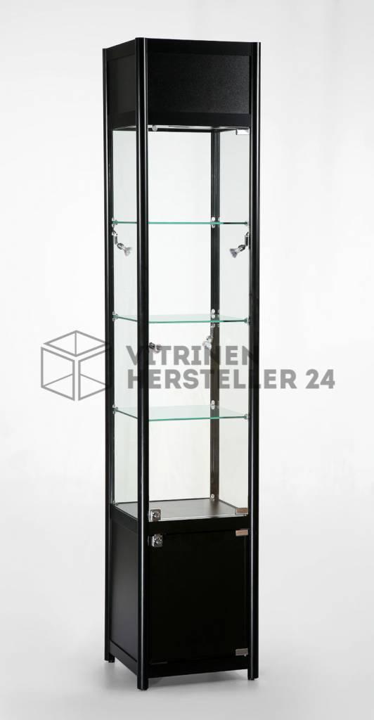 freistehende vitrine glas alu und beleuchtung mit. Black Bedroom Furniture Sets. Home Design Ideas