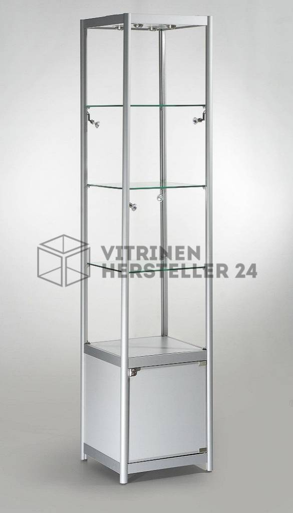 freistehende vitrine glas alu und beleuchtung vs2400s. Black Bedroom Furniture Sets. Home Design Ideas