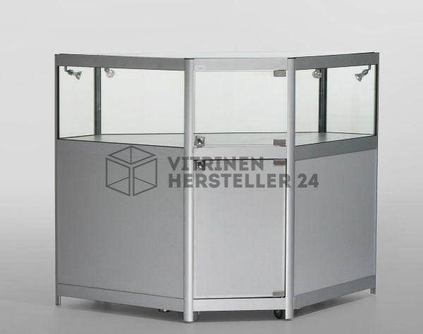 eck thekenvitrine mit unterschrank mit beleuchtung hersteller von hochwertigen glas alu. Black Bedroom Furniture Sets. Home Design Ideas