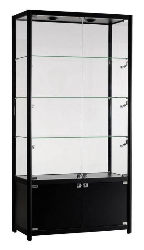 freistehende vitrine mit unterschrank und beleuchtung. Black Bedroom Furniture Sets. Home Design Ideas