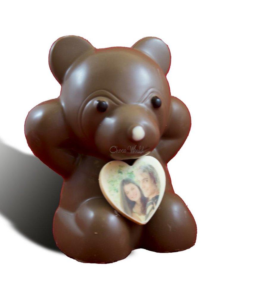 Chocoladebeer met hartje en foto