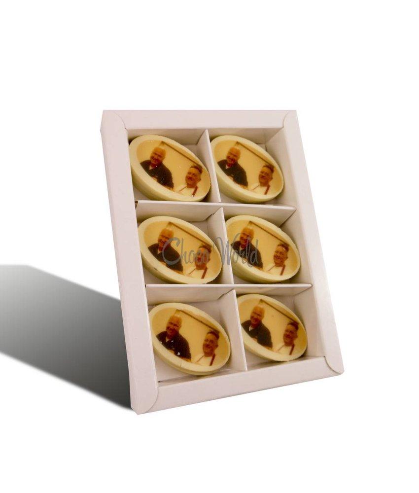 Munten Wit Ovaal met Foto/Logo 16 st