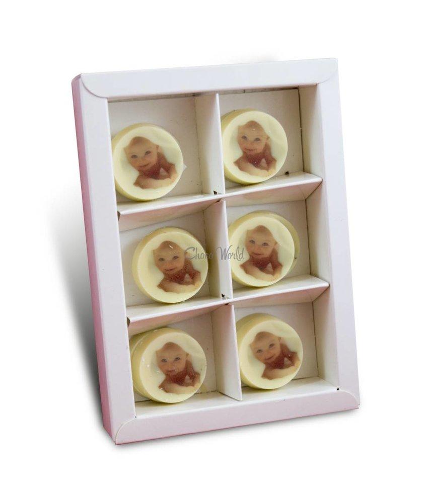 Geboortemunten Wit met Foto