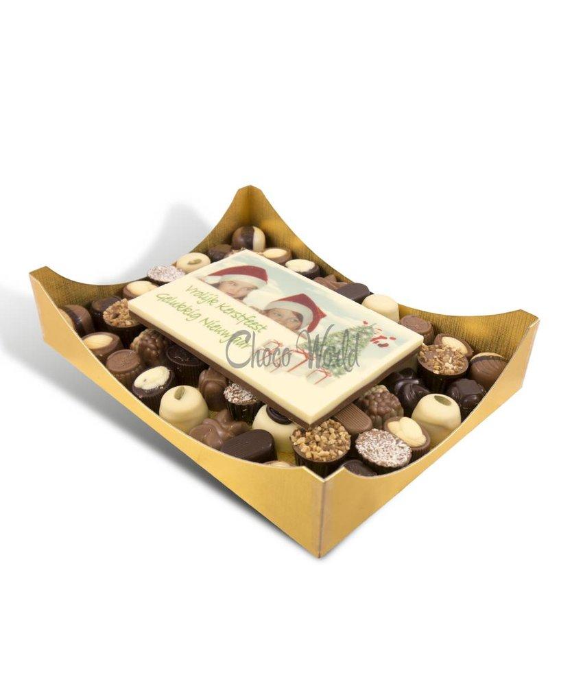 Slagroom Bonbons Assorti Groot met Chocolade Kerstkaart