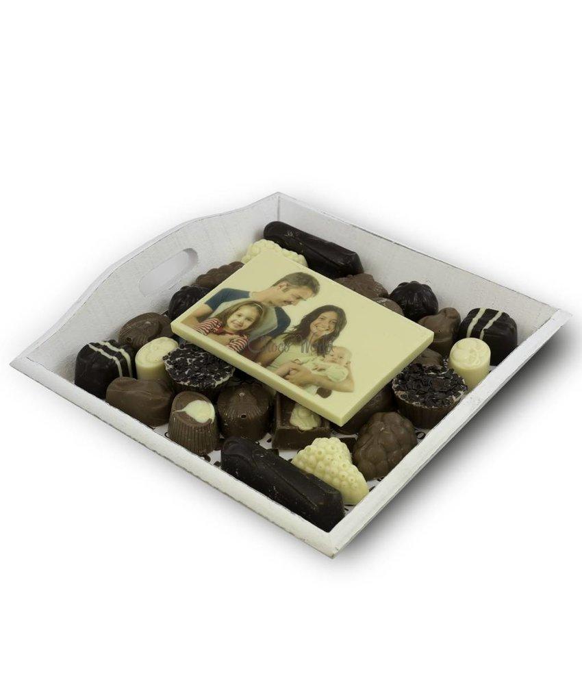 Chocolade Slagroom Bonbons assortiement middel met Chocoladekaart