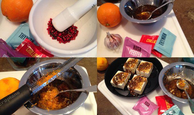 Feta mit Chillies, Rosa Pfeffer und Thymian