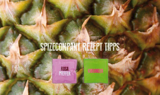 Gebratene Ananas mit Rosa Pfeffer und Koriander