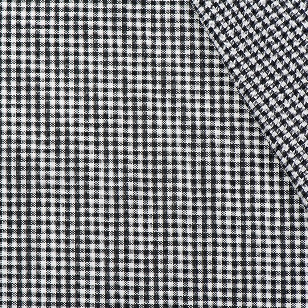Boerenbont ruit stof, zwart 2 mm