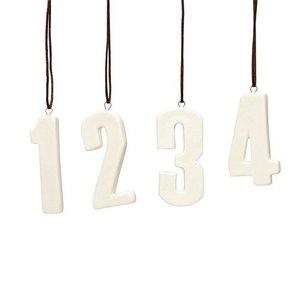 Hübsch Adventszahlen 1-4 weiß
