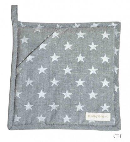 2 Topflappen grau mit Sternen