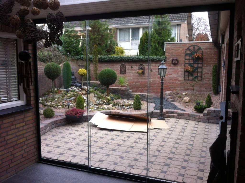 Sunflex Someren-Eind Brabant Glaswand gemonteerd door A.G.A.Terras van het merk Sunflex