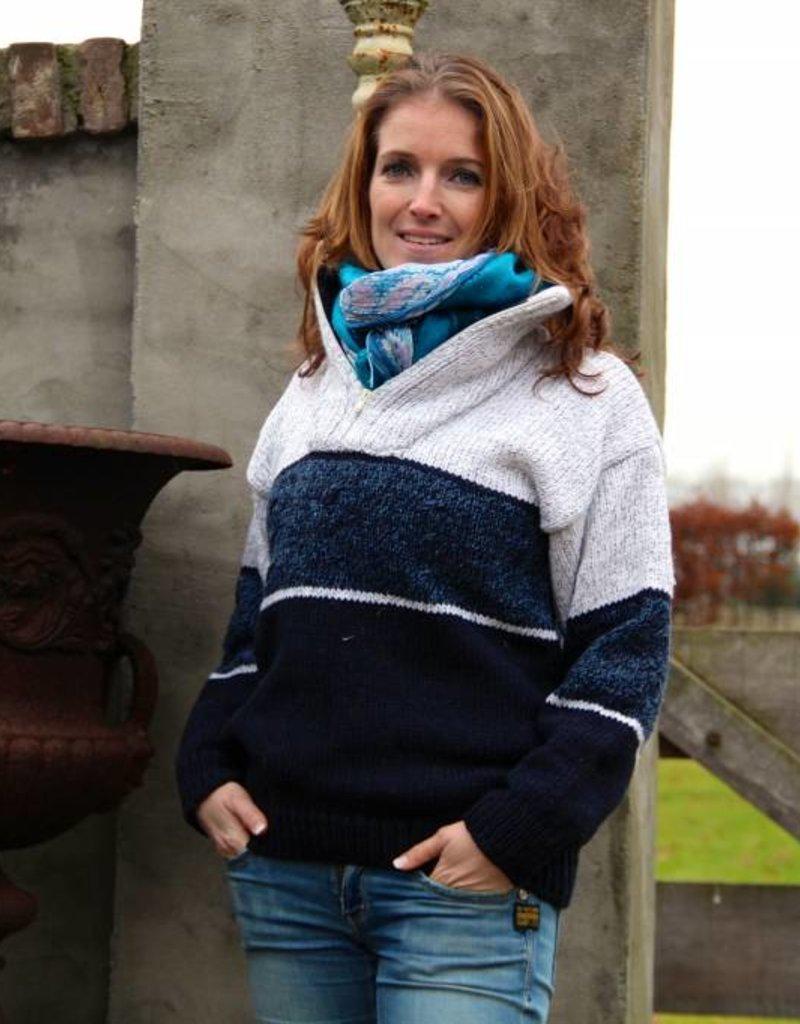 """""""Vagos"""" gebreide wollen trui met rits (schipperstrui) in 3 kleuren"""