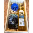 Geschenkkist fles 750ml, olijven, schaaltje