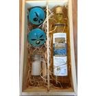 Geschenkkist fles 750ml, Fleur de Sel, Pure keramiek 2 stuks afmeting xs