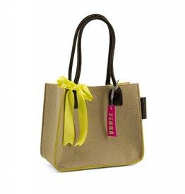 Vilten tas met strik - crème/geel