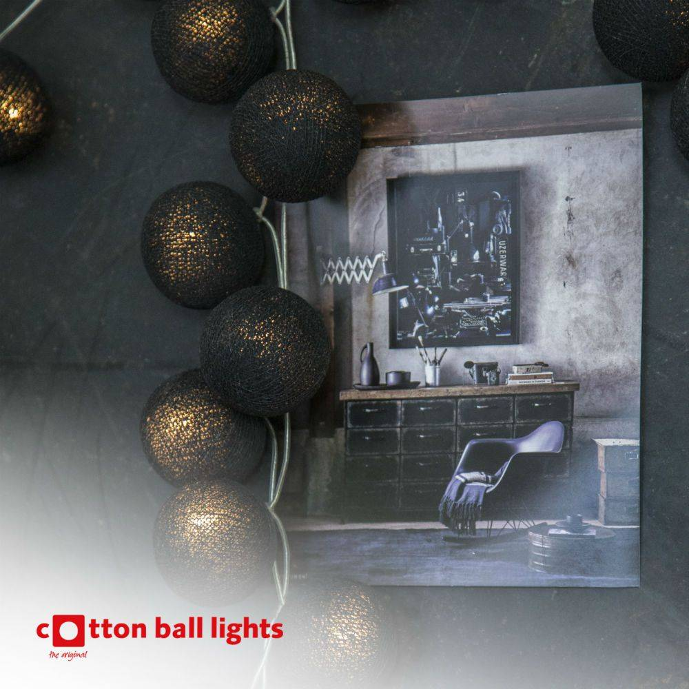 Cotton Ball Lights 20 - Black