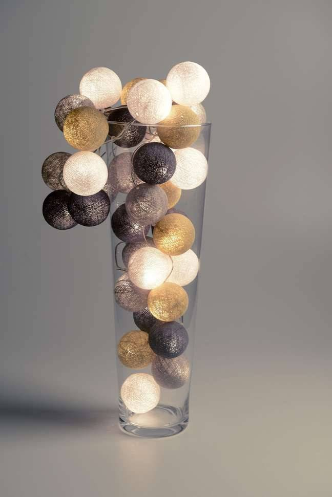 Cotton Ball Lights - Sand/Grey