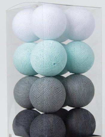 Cotton Ball Lights - Aqua/Grey