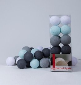 Cotton Ball Lights 35 - Aqua/Grey