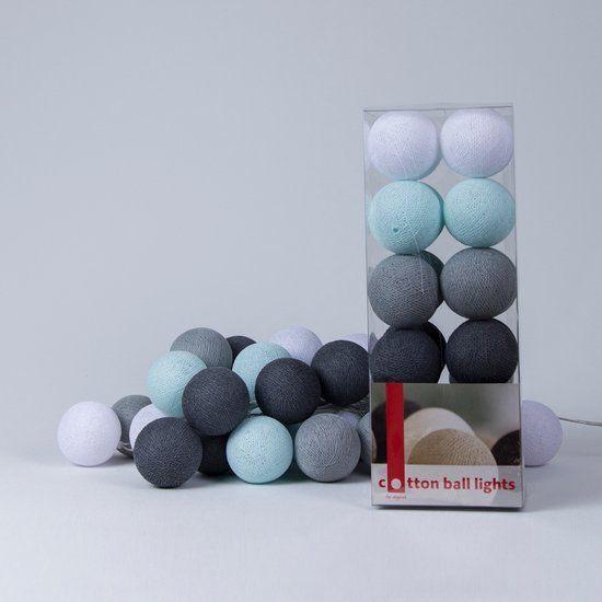 Cotton Ball Lights 35 - Aqua/Grey