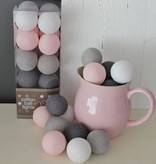 Cotton Ball Lights - Pink/Grey