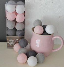Cotton Ball Lights 35 - Pink/Grey