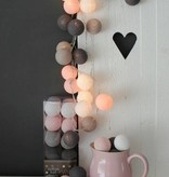 Cotton Ball Lights 35 - Pink/Grey