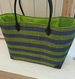 Rieten tas - Blauw-groen gestreept