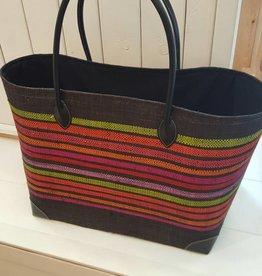 Rieten tas - Zwart multicolor