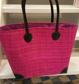 Rieten tas - Pink