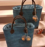 Sisal tas - Turquoise - met pomponnetjes