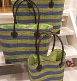 Rieten tas - Groen/blauw