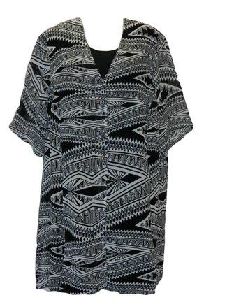 lange zwart witte blouse maat 58