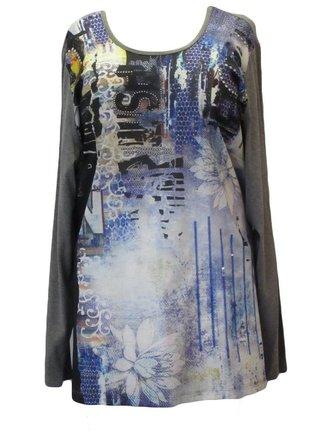 grijs shirt met blauwe print maat 58