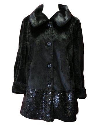 zwarte teddy jas met bling bling maat 46