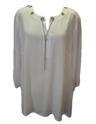 roomwitte supersofte blouse met kettinkje maat 54