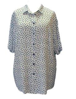 witte blouse met blauwe details maat 50
