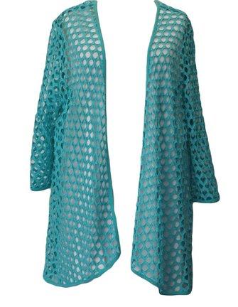 turquoise opengewerkt vest