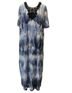 lange blauw witte jurk maat 50