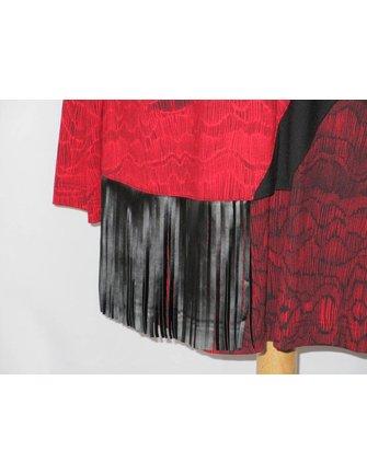 rood zwart shirt met franjes maat 44